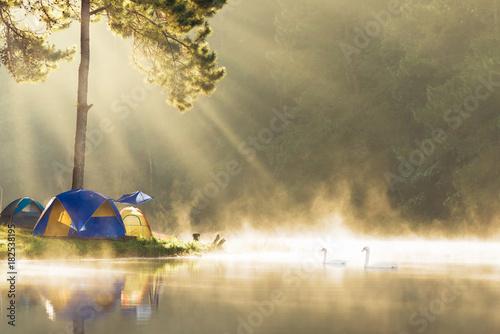 Printed kitchen splashbacks Reflection Morning at Pang Ung lake, Pang Ung Mae Hong Son province, North of thailand