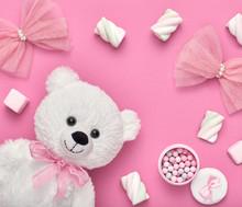 Fashion Design Woman Accessories Set. Pastel Colors.Cosmetic Makeup.Trendy Fashion Marshmallow,Teddy Bear. Flower. Luxury Summer Lady. Creative Romantic Pink. Wedding