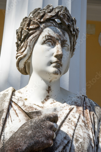 Statue of Clio,  the muse of epic poetry and history , on Achillion palace, Corfu Greece Canvas Print