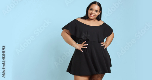Photo Plus size model in studio shoot happy smiling