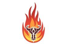 Fire Bull Skull