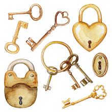Vintage Set With Golden Keys A...