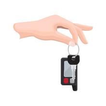 Car Key In Human Hand Flat Vec...