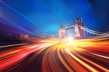 Abstract Motion Speed Lighting in London City