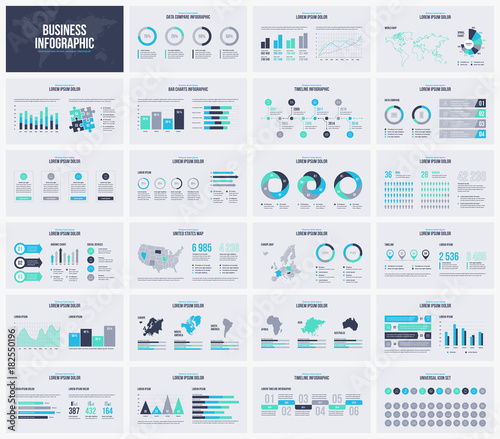 Multipurpose presentation vector template infographic. Canvas Print