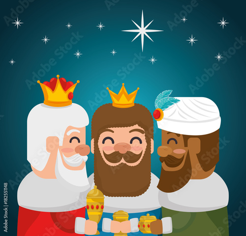 the three magic kings of orient wise men vector illustration graphic design Canvas Print