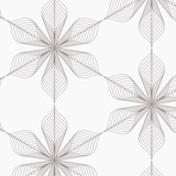 linear vector pattern, repeating abstract leaves, gray line of leaf or flower, floral. graphic clean design for fabric, event, wallpaper etc. pattern is on swatches panel. - 182558722