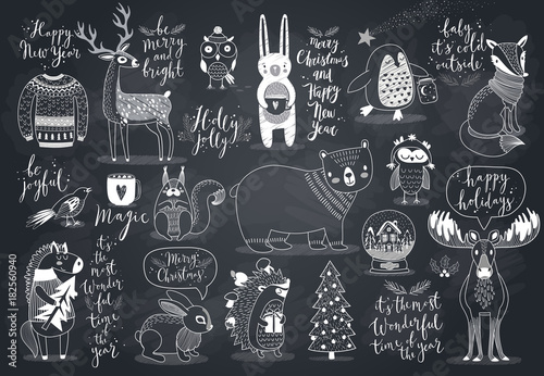 Cute forest animals set - chalkboard style.