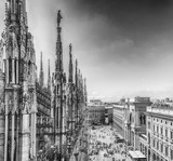 Aerial view from the roof of the Cathedral, Milan, Italy - 182562933
