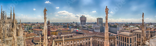 Fototapeta  Aerial view from the roof of the Cathedral, Milan, Italy
