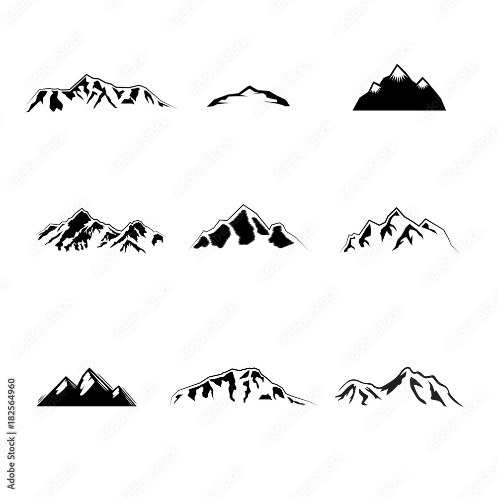 Fototapety, obrazy: Collection of vintage mountain design elements