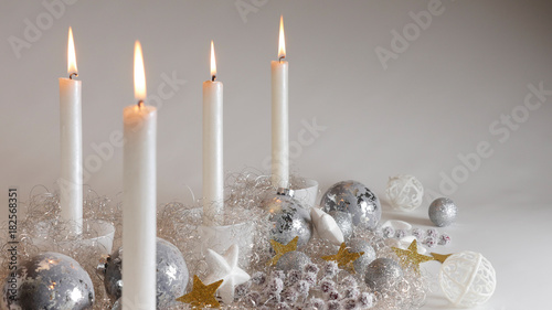 Angel Hair Christmas Decoration.Festive Christmas Decoration With Four Candlelights Glitter