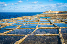 Salt Evaporation Ponds On Gozo...