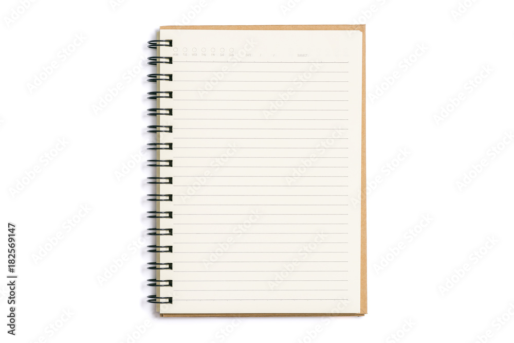 Fototapeta Open blank notebook isolated on white background
