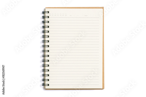 Photo Open blank notebook isolated on white background
