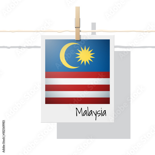 Asian Country Flag Collection With Photo Of Malaysia Flag On White