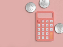 Pink Calculator And Silver Coi...