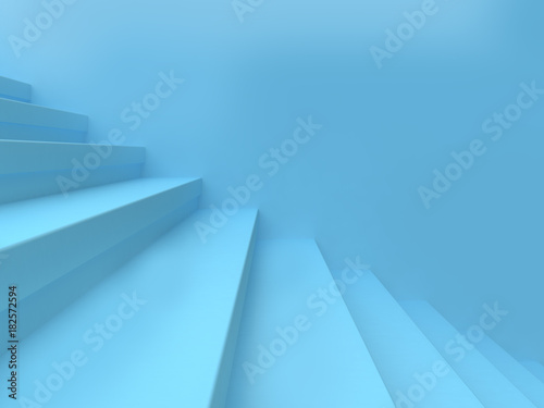 Leinwanddruck Bild - NARUEDOL : blue abstract scene wall staircase-step minimal background 3d rendering