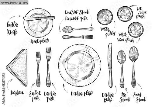 Fototapeta Table setting, top view. Vector hand drawn illustrations with original custom font captions. obraz
