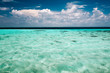 Clear ocean water and a cloudy blue sky