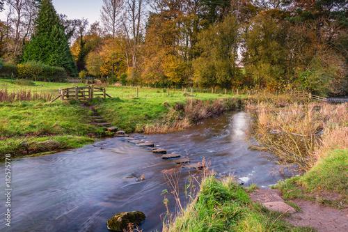 Fotografie, Obraz  Barn Flatt Stepping Stones at Wallington / The River Wansbeck rises in the North
