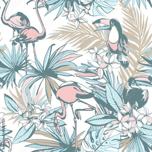 Plakat Ręcznie rysowany tropikalny wzór w modne motywy
