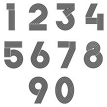 Numbers Set Thin Line Monogram Math Symbols, Linear Black And White Typography Design Element Mathematics Symbols 1, 2, 3, 4, 5, 6, 7, 8, 9, 0