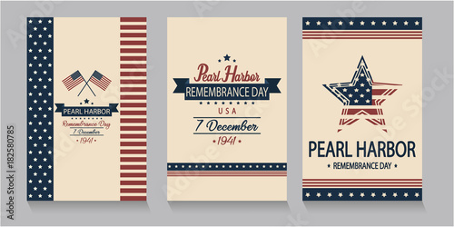 Pearl Harbor Remembrance day card set. vector illustration.