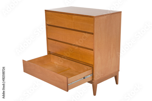 Fotografie, Obraz Wooden chest of drawers isolated on white