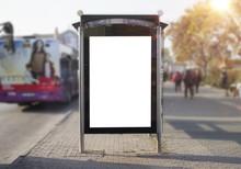 Bus Stop Mockup Blank Frame