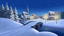 Christmas Town Background. Small Town With River,  Church, Houses Decorated With Festive Lights.