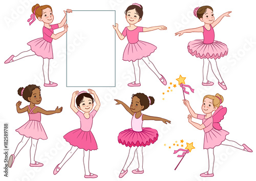 0a6c8e17a43cd Vector cartoon illustration collection of cute multicultural little  ballerina girls characters wearing pink leotards and tutu skirts.