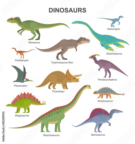 Photo  Vector collection of cute flat dinosaurs, including T-rex, Stegosaurus, Velociraptor, Pterodactyl, Brachiosaurus and Triceratop, isolated on white