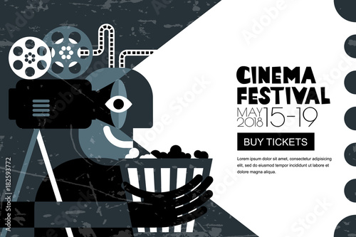 Vector Cinema Festival Black White Poster Flyer Background