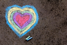 Chalk Drawing: Colorful Hearts...