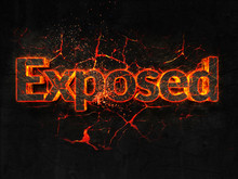 Exposed Fire Text Flame Burning Hot Lava Explosion Background.