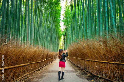 Foto op Plexiglas Japan Woman take a photo at Bamboo Forest in Kyoto, Japan.