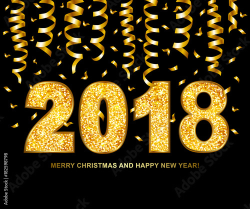 2018 merry christmas and happy new year card with gold glitter text design and serpentine