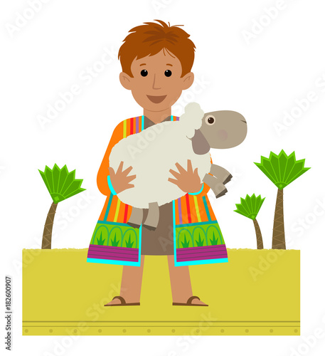 Fotomural Joseph Clip-art - Joseph with his colorful coat holding a sheep in his arms