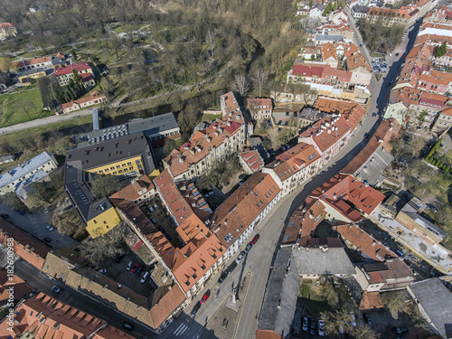 Fototapeta Aerial view over Vilnius old town panorama, Lithuania. During early sunny spring time. obraz na płótnie