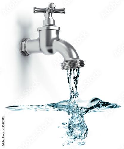 Fotografie, Obraz  Wasserhahn mit fließend Wasser und Wellen isoliert weißer Hintergrund