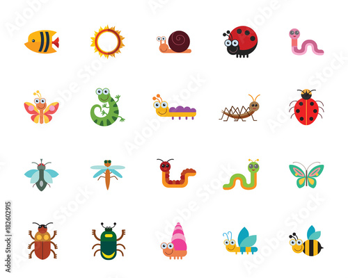 Poster Vogels, bijen Funny insects icon set