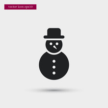 Snowman Icon Simple Winter Vec...