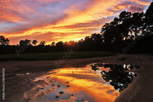 Deurstickers Zwart Spectacular nature background.Southern landscape with golf course at dusk and bright colors sky reflects in puddle during after rainy day sunset. Pawleys Island, Myrtle Beach area, South Carolina, USA
