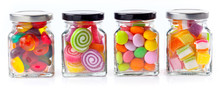Colorful Candies In Glass Jars...