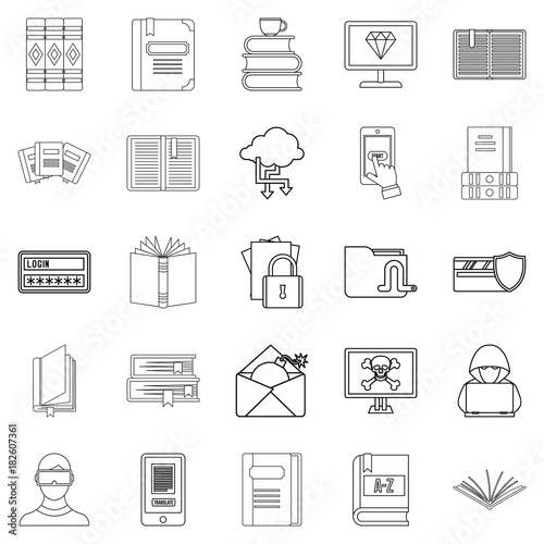 Book icons set, outline style Poster Mural XXL