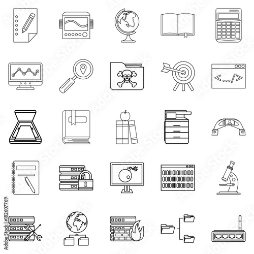 Photographie  Volume icons set, outline style