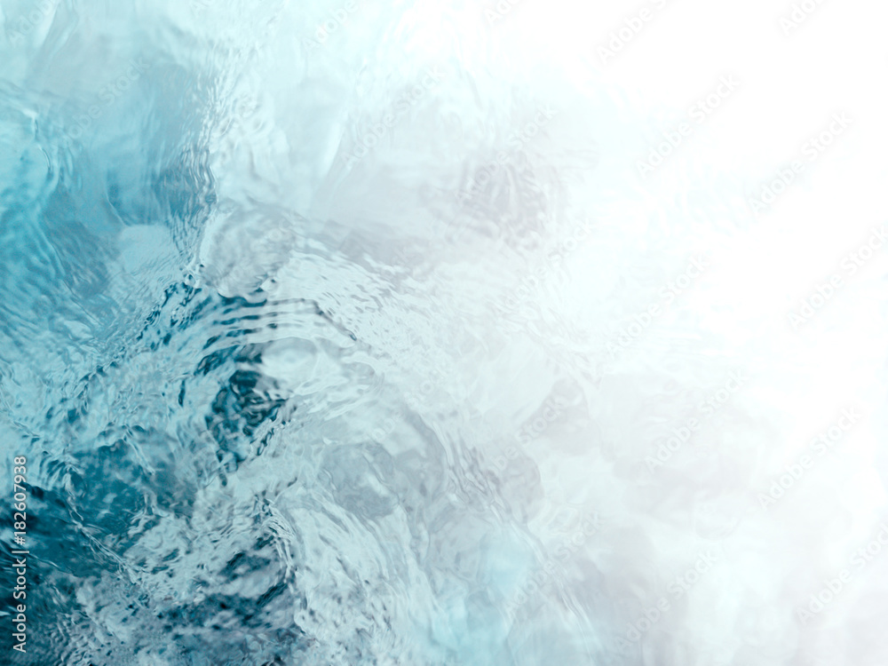 Fototapeta Painterly, tranquil, and meditative blue green flowing water background fade to white