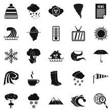 Clime Icons Set, Simple Style