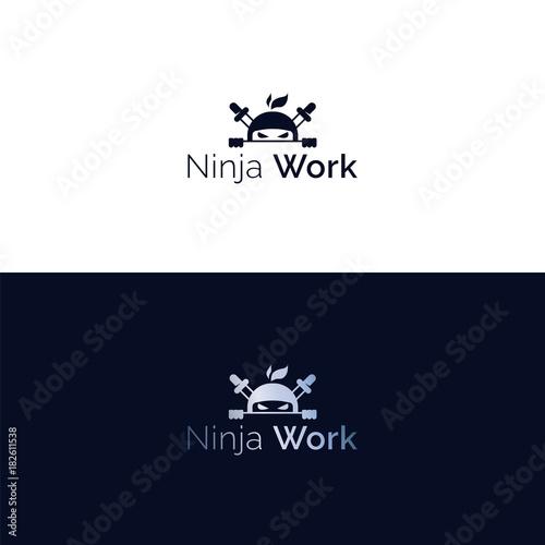 Fotomural Vector ninja head mascot logo